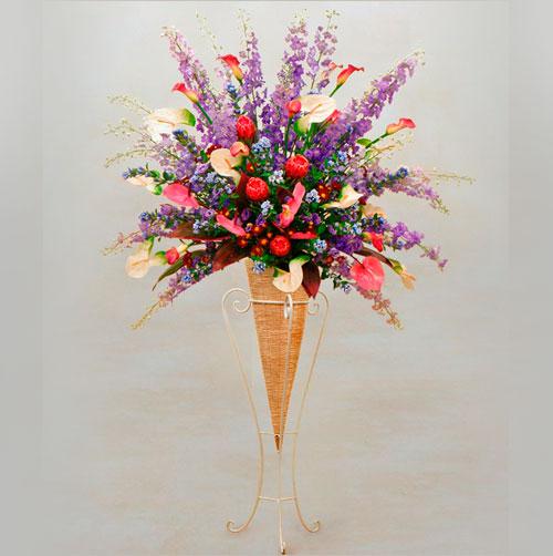 スタンド花バスケットスタイル(パープルの色調)