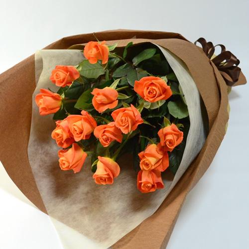 オレンジのバラの花束(大輪14本)