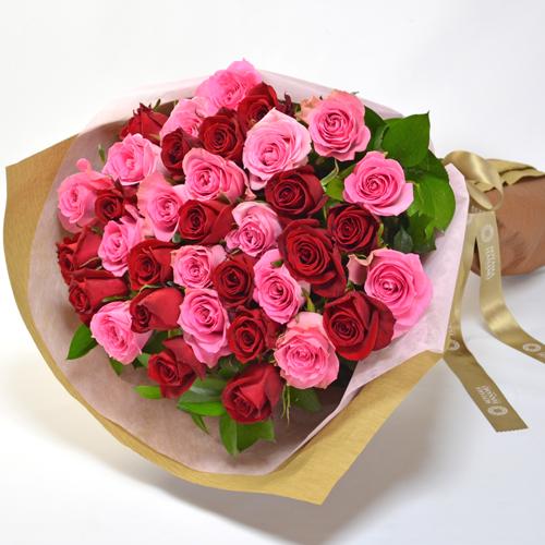 赤とピンクのバラの花束(大輪35本)