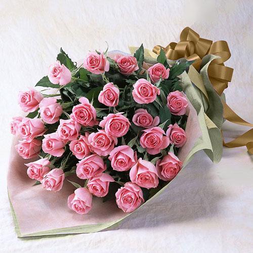 ピンクのバラの花束(大輪30本)