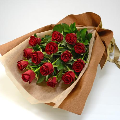 赤バラの花束(大輪14本)