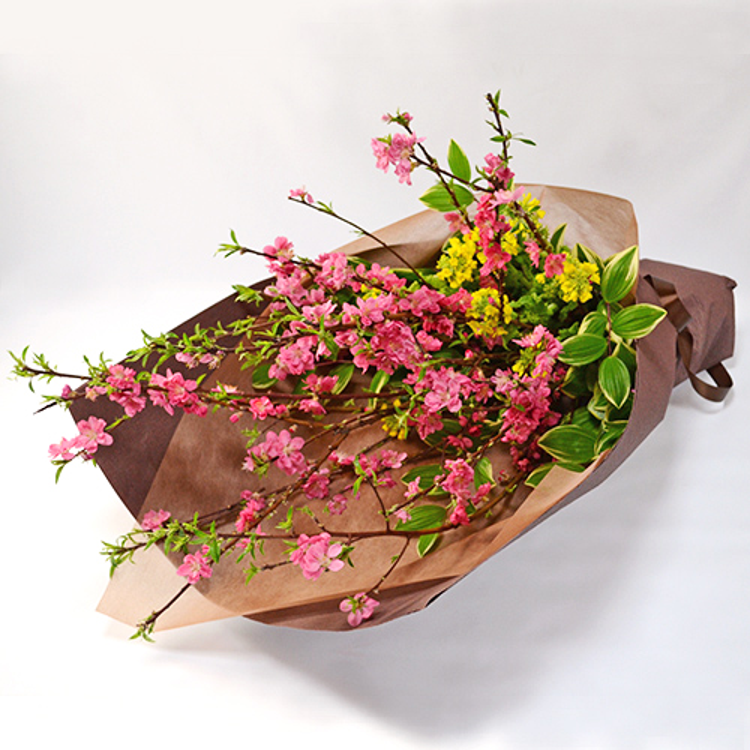 桃と菜の花の花束