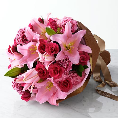 ユリやバラのピンクの花束<ロザート>