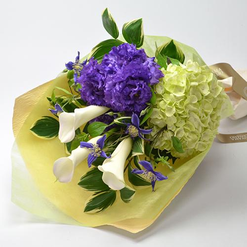 カラーとトルコキキョウの花束<ノクターン>
