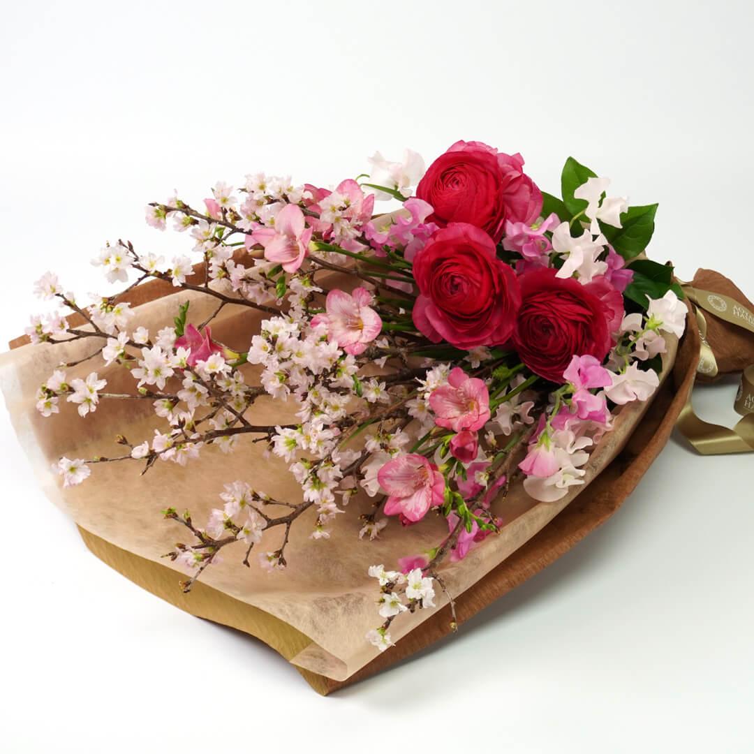 ラナンキュラスや桜の花束<スプリングタイム>