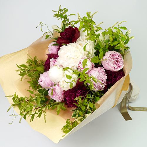 芍薬とトルコキキョウの花束<グラシュー>