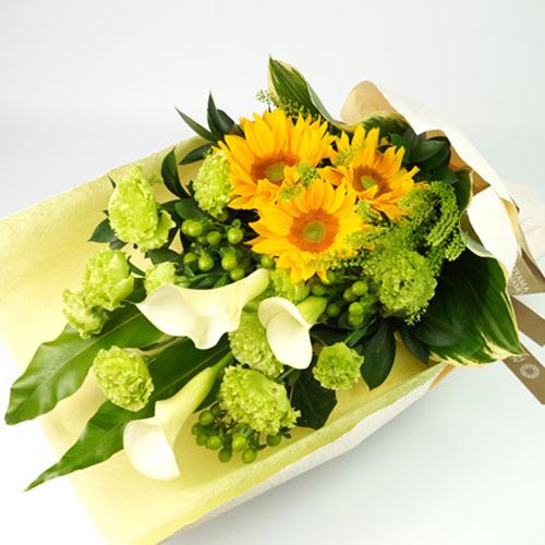ヒマワリとカラーの花束<セレーノ>