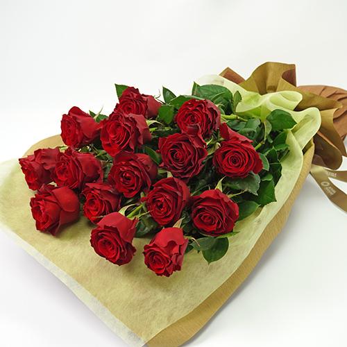 赤いバラ15本の花束の画像