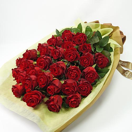 赤いバラ30本の花束の画像
