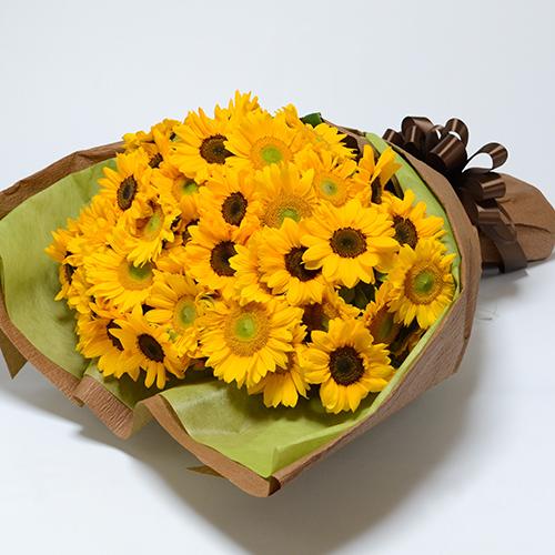 黄色いヒマワリの花束の画像