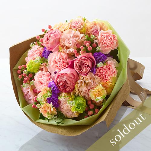 大輪バラとカーネーションの花束の画像