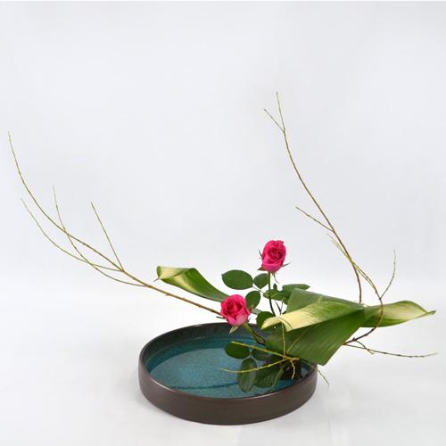 晩秋のいけばな花材<行李柳・旭葉蘭・薔薇>