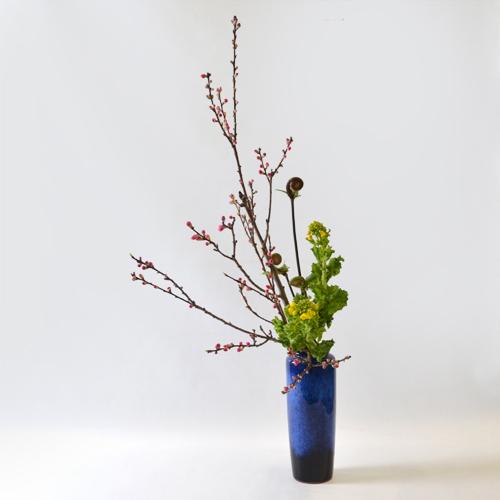 花桃いけばな花材<桃・ゼンマイ・菜の花>