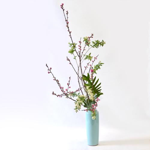 花桃いけばな花材<桃・小手鞠・クッカバラ>