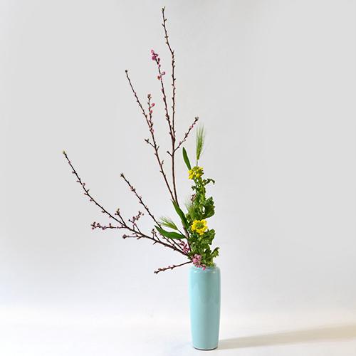 花桃いけばな花材<桃・麦・菜の花>