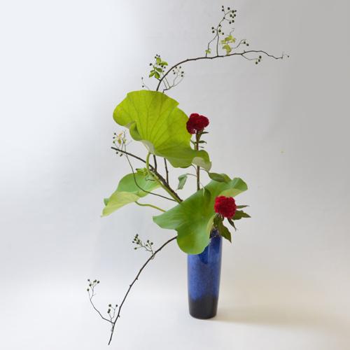 蓮いけばな花材<野薔薇・蓮葉・鶏頭>