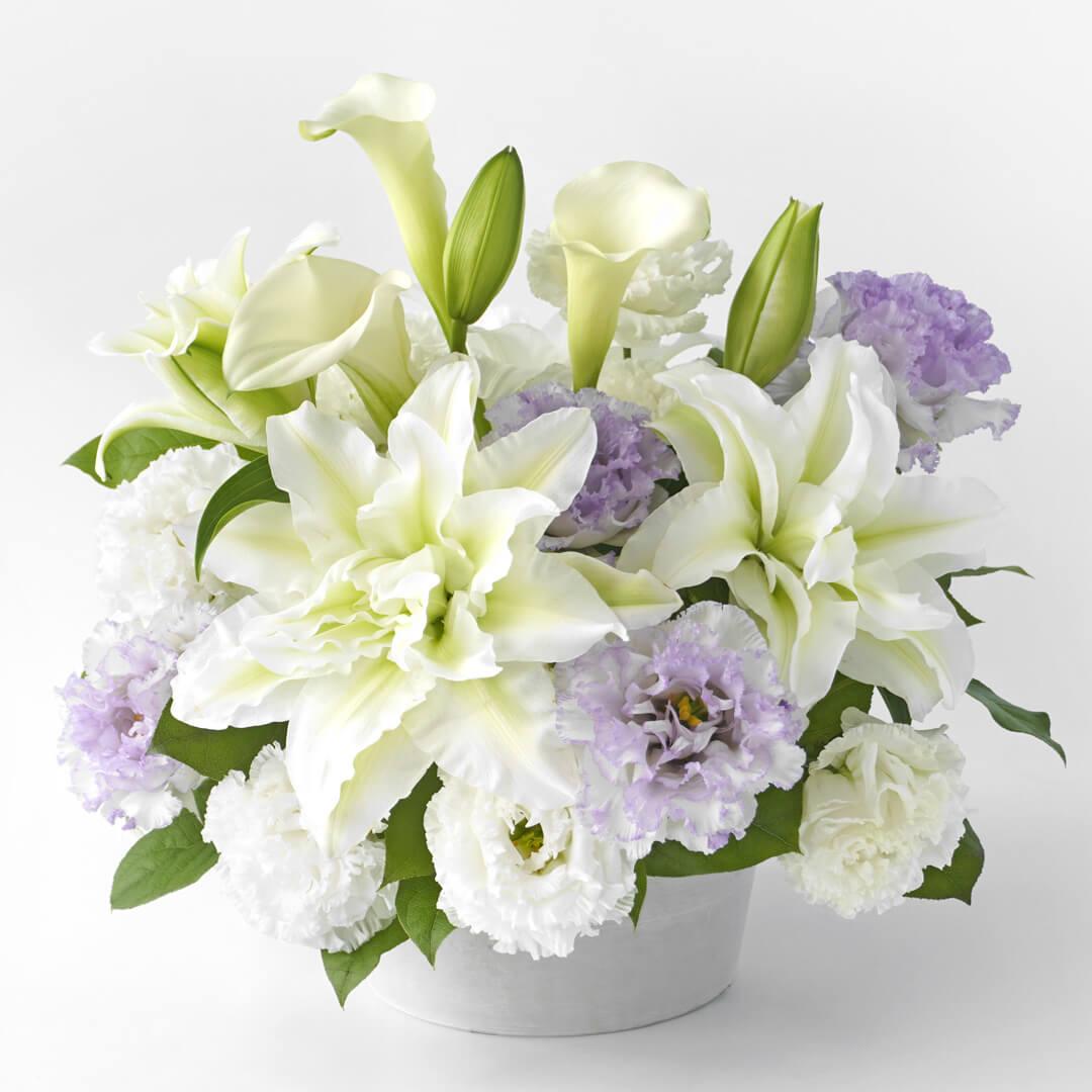 ご供花 白と薄紫の花のアレンジメント