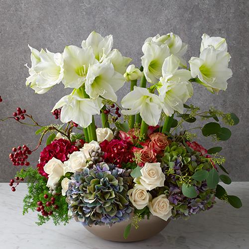 アマリリスとバラのアレンジメント<フォルトゥーナ>